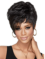 Capless Women Short Curly Lady Synthetic Hair Wig Side Bang Black with Free Hair Net