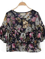 Damen T-Shirt - Rüsche Polyester ¾-Arm Rundhalsausschnitt