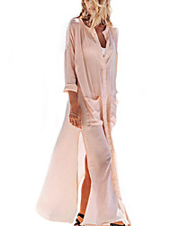 Women's Sexy / Simple Solid Tunic Dress,Stand Maxi Cotton