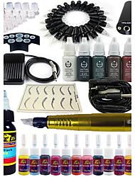 tatouage Solong machine à tatouer rotative&permanente maquillage stylo 20 cartouches d'aiguilles Jeu d'encre alimentation pédale