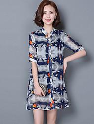 Women's Print Blue Beach Loose Shirt,Stand ½ Length Sleeve