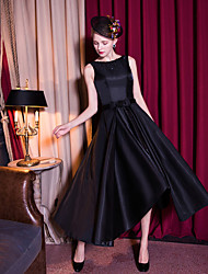 Cocktail Party Dress A-line Scoop Tea-length Satin / Taffeta with Beading / Bow(s) / Crystal Detailing / Sash / Ribbon