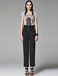 ZigZag® Femme Col Arrondi Manche Courtes T-shirt Gris - 11458