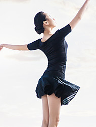 Ballet Outfits Women's Performance Spandex / Polyester Draped / Pleated 2 Pieces Black