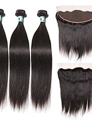 Trame cheveux avec fermeture Cheveux Péruviens Droit 18 Mois 4 Pièces tissages de cheveux