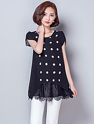 Women's Polka Dot Black Blouse,Round Neck Short Sleeve