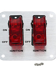 Jtron Silver Aluminium Flip-up Ignition 2-covered-switch Panel for Auto-refitting - (Red & Silver)