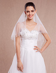 Wedding Veil Two-tier Blusher Veils / Elbow Veils / Fingertip Veils / Veils for Short Hair Beaded Edge / Scalloped Edge
