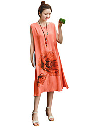 Women's Vintage Floral / Loose Dress,Round Neck Midi Linen