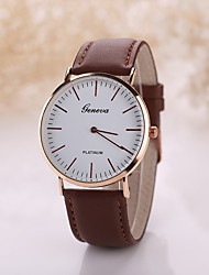 Men's Luxury Leather Band Geneva White Case Military Sports Style Watch Jewelry