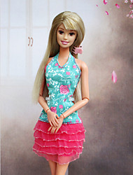 Barbie Doll Summer Dress in Light Green and Pink
