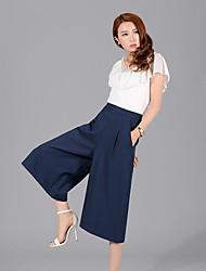 Damen Hose - Leger Breites Bein Baumwolle Mikro-elastisch