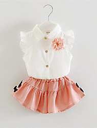Girl's Green / Pink Clothing Set,Bow Cotton Summer