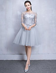 Short / Mini Tulle Bridesmaid Dress - A-line Scoop with Lace