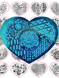 1PC Heart Nail Art DIY Metal Printing Plates -28 Designs
