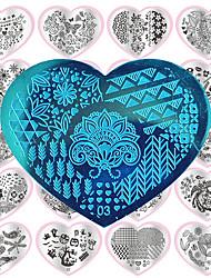 1шт сердца искусства ногтя поделки металла печатные пластины -28 конструкции