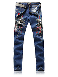 Men's Fashion Blue Stretch Denim Wolf Printed Painted Jeans