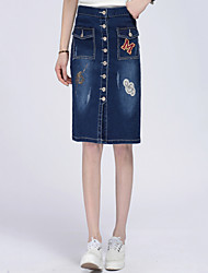 Women's Slim  Blue Denim Skirts,Casual / Day Knee-length