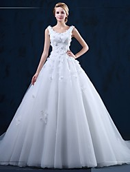 Ball Gown Wedding Dress Court Train Scoop Tulle with Appliques