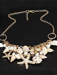 Women's Statement Necklaces Star Pearl Shell Alloy Unique Design Festival/Holiday Fashion Double-layer Jewelry ForParty Special Occasion