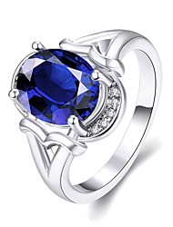 2016 New Noble Luxury Platinum Plated Wedding Blue Zircon Women Party Ring
