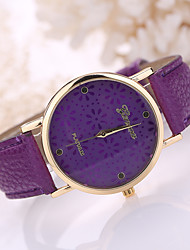 Women's Leather Band White Flower Case Analog Quartz Wrist Watch Cool Watches Unique Watches