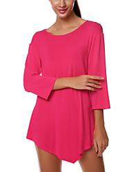Damen Solide Sexy / Street Schick Ausgehen T-shirt,Rundhalsausschnitt ¾-Arm Rosa / Schwarz Polyester Dünn