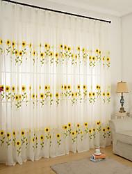 Dois Painéis Rústico Floral / Botânico Branco Sala de Jantar Poli/Mistura de Algodão Sheer Curtains Shades