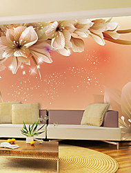Shinny Leather Effect Large Mural Wallpaper Flowers Art Wall Decor for Living Room TV Soaf Background