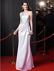 TS Couture® Formal Evening Dress Sheath / Column One Shoulder Floor-length Stretch Satin with Beading / Criss Cross