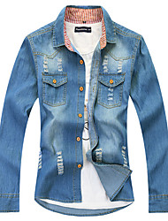 Men's Long Sleeve Shirt,Cotton / Acrylic Casual / Sport Solid 916089