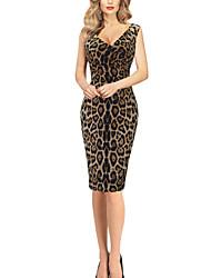Women's Sexy Leopard Sheath Dress,V Neck Knee-length Polyester