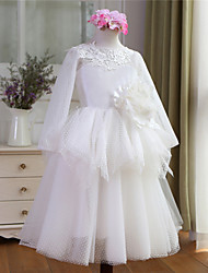 Ball Gown Floor-length Flower Girl Dress-Tulle Long Sleeve
