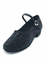 Non Customizable Women's / Kids' Dance Shoes Modern Sparkling Glitter Cuban Heel Black