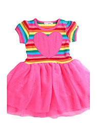 Girl's Red Dress,Stripes Cotton Summer / Spring