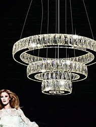 LED Crystal Pendant Light Modern Lighting Three Rings D204060 K9 Large Crystal Hotel Ceiling Lights Fixtures