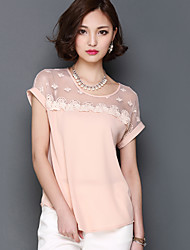 2016 Summer New Women Stitching Lace Short-Sleeved Chiffon Blouse