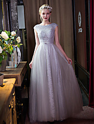 Formal Evening Dress-Silver A-line Scoop Floor-length Lace / Tulle