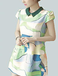 Women's Simple A Line Dress,Print Shirt Collar Above Knee Short Sleeve Green Polyester Summer