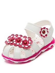 Girl's Summer Gladiator / Sandals Leatherette Outdoor / Casual Flat Heel Applique / Beading / Magic Tape Pink / Red / White