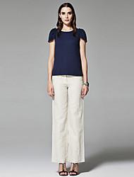 ZigZag® Femme Col Arrondi Manche Courtes T-shirt Rouge / Bleu marine / Violet / Marron / Gris clair - 11389