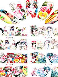 8pcs  Nail Art Water Transfer Stickers Beautiful Dramatic Characters Image Fashion C212-215