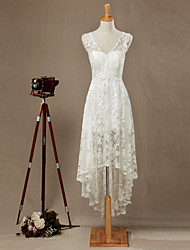 Sheath/Column Wedding Dress-Ivory Asymmetrical V-neck Lace