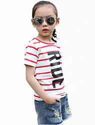 Girl's Red Tee,Stripes Cotton Summer