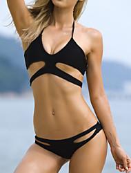 Women's Sexy Black Bandage Halter Beach Bikinis Set
