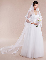 Wedding Veil One-tier Chapel Veils Cathedral Veils Cut Edge Lace Applique Edge Tulle White Ivory