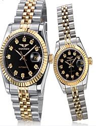 GUANQIN® Top Grade Automatic Self-wind Couple Watch Steel Calendar Luminous Luxury Diamond Women Men Wristwatch Cool Watcheses With Watch Box
