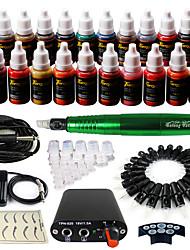 solong Tätowierung Dreh Tattoo-Maschine&Permanent Make-up Stift 50 Nadel Patronen Tintenset Stromversorgung Fußpedal ek103-5