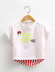 Mädchen T-Shirt-Lässig/Alltäglich Blumen Baumwolle Sommer Grün / Rot