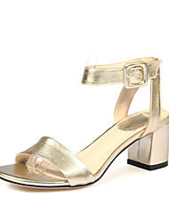 Women's Shoes Leather Chunky Heel Open Toe Sandals Dress / Casual Silver / Gold